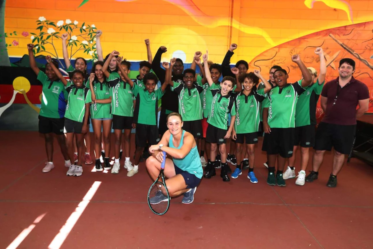 Ash Barty Indigenous students. (Supplied: Tennis Australia/Jason O'Brien)