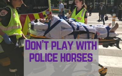 Extinction Rebellion protestor flies from Chile to protest CO² in Melbourne, gets trampled by horse